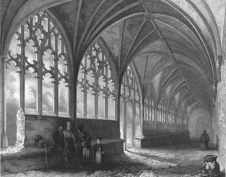 Associate Product HEREFORDSHIRE. Hereford Cathedral, the Cloisters c1842 old antique print