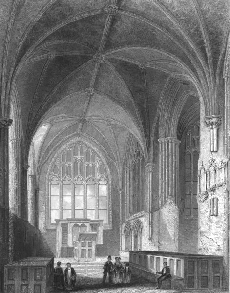 Associate Product CHESHIRE. Chester Cathedral, the lady Chapel c1842 old antique print picture