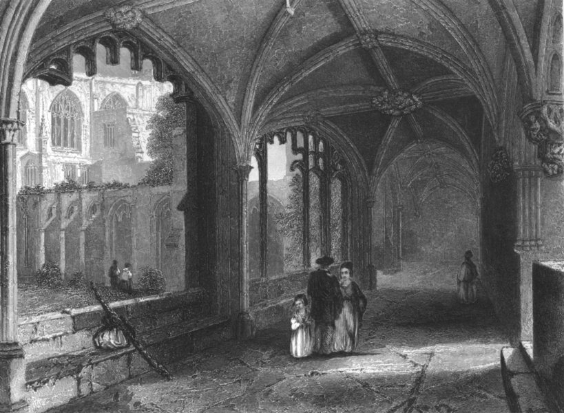 Associate Product CHESHIRE. Chester Cathedral, the Cloisters c1842 old antique print picture