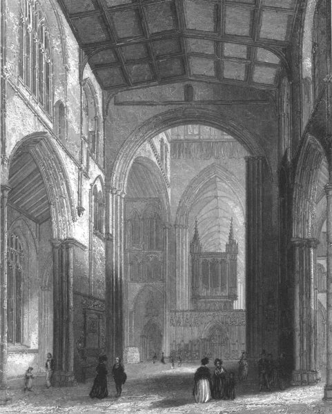 Associate Product YORKSHIRE. Ripon Cathedral, the Nave c1842 old antique vintage print picture