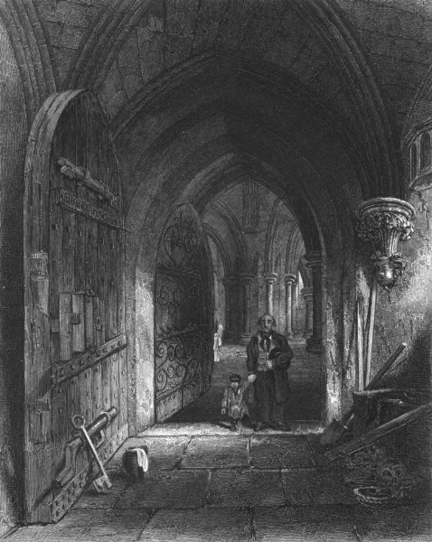 Associate Product SOMERSET. Wells Cathedral, Entrance to the Crypt c1842 old antique print
