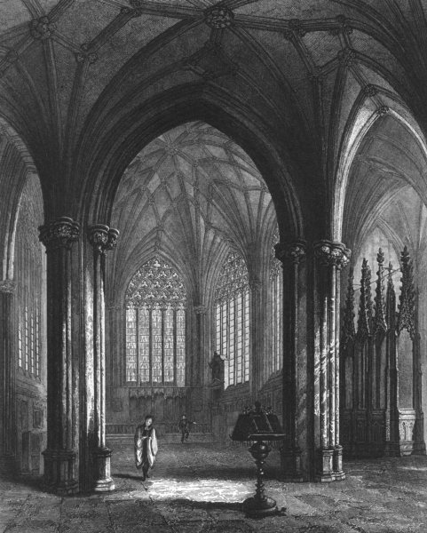 Associate Product SOMERSET. Wells Cathedral, the lady Chapel c1842 old antique print picture