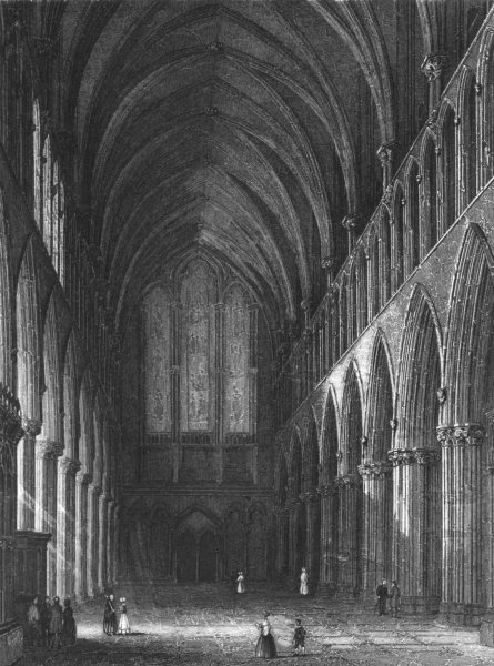 Associate Product SOMERSET. Wells Cathedral, the Nave c1842 old antique vintage print picture