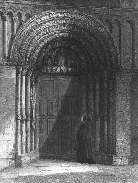 Associate Product KENT. Rochester Cathedral, West door way c1842 old antique print picture