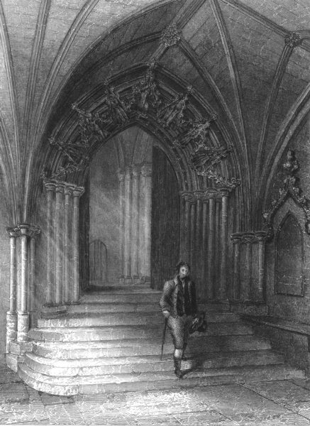 Associate Product NORFOLK. Norwich Cathedral, Entrance to the Cloisters c1842 old antique print