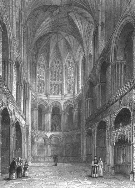 Associate Product NORFOLK. Norwich Cathedral, East end of Choir c1842 old antique print picture