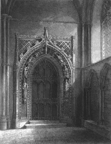Associate Product KENT. Rochester Cathedral, View of the door into the Chapter House c1842 print