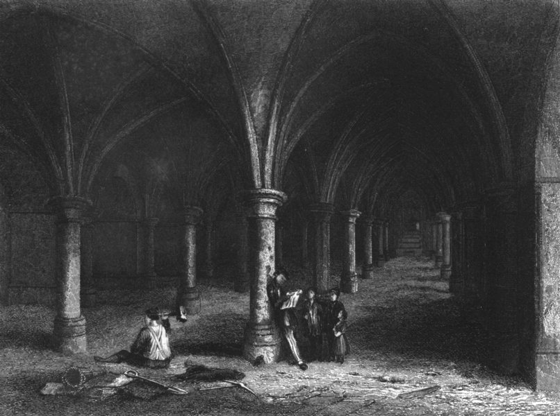 Associate Product KENT. Rochester Cathedral, View of the Crypt c1842 old antique print picture