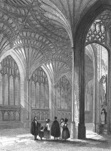 Associate Product CAMBRIDGESHIRE. Peterborough Cathedral, The lady chapel c1842 old print