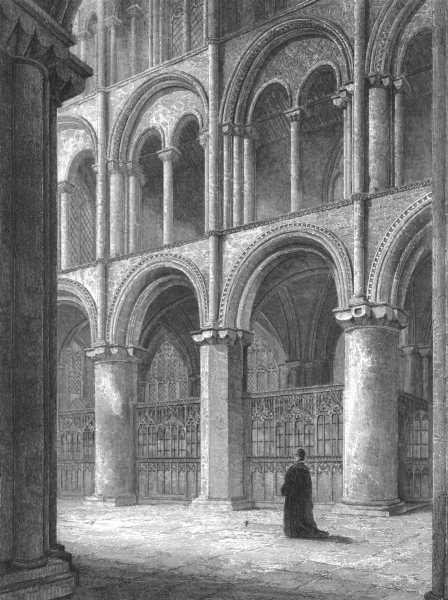 Associate Product CAMBRIDGESHIRE. Peterborough Cathedral, View across the North Transept c1842