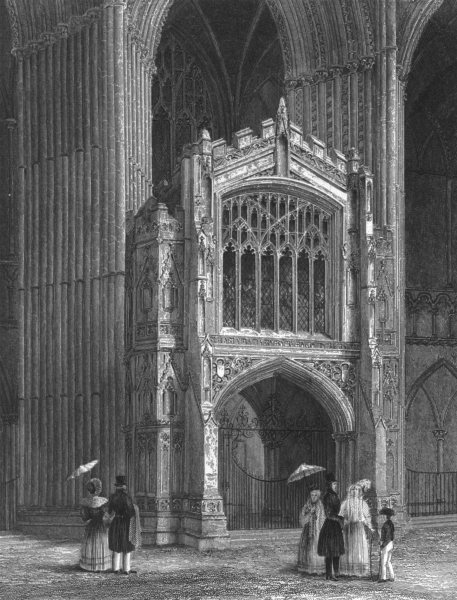 Associate Product CAMBRIDGESHIRE. Peterborough Cathedral, View of the Porch west end c1842 print