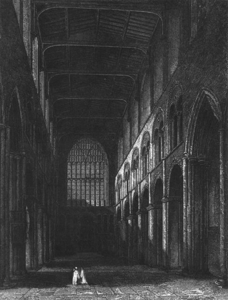 Associate Product KENT. Rochester Cathedral, View of the Nave c1842 old antique print picture
