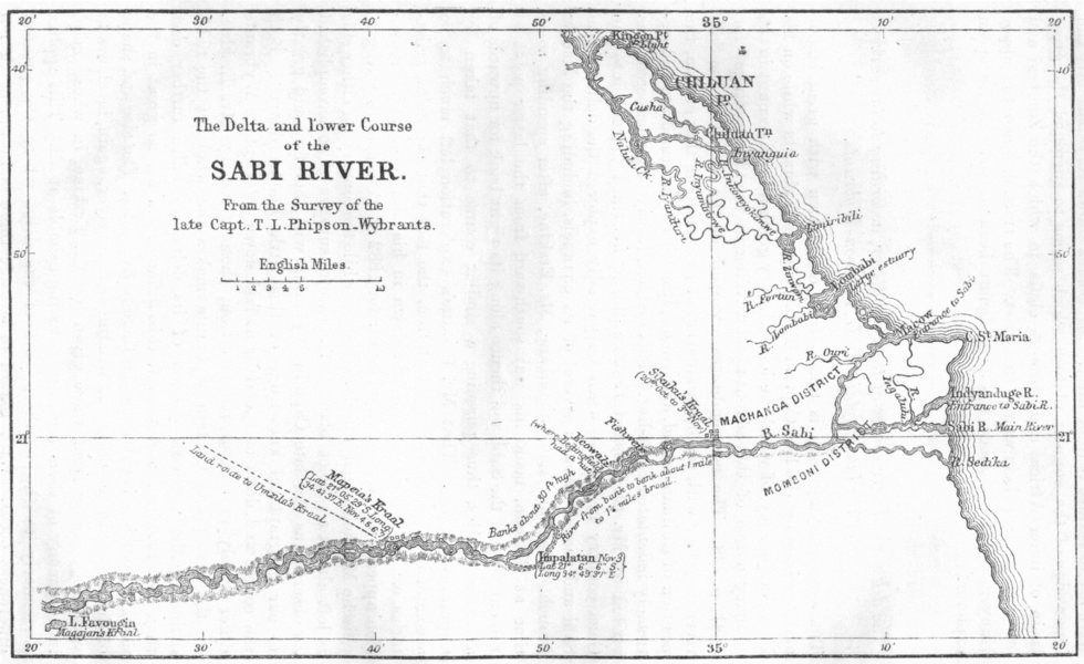 Associate Product AFRICA. The Delta and Lower Course of the Sabi River. RGS Sketch map 1883