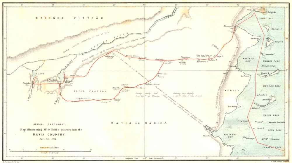 Associate Product MOZAMBIQUE. coast. Mavia Mabiha country. O'Neill 1882. RGS map 1883 old