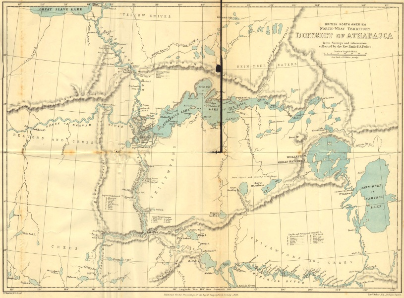 Associate Product CANADA.British North America North–West territory Athabasca. RGS map 1883