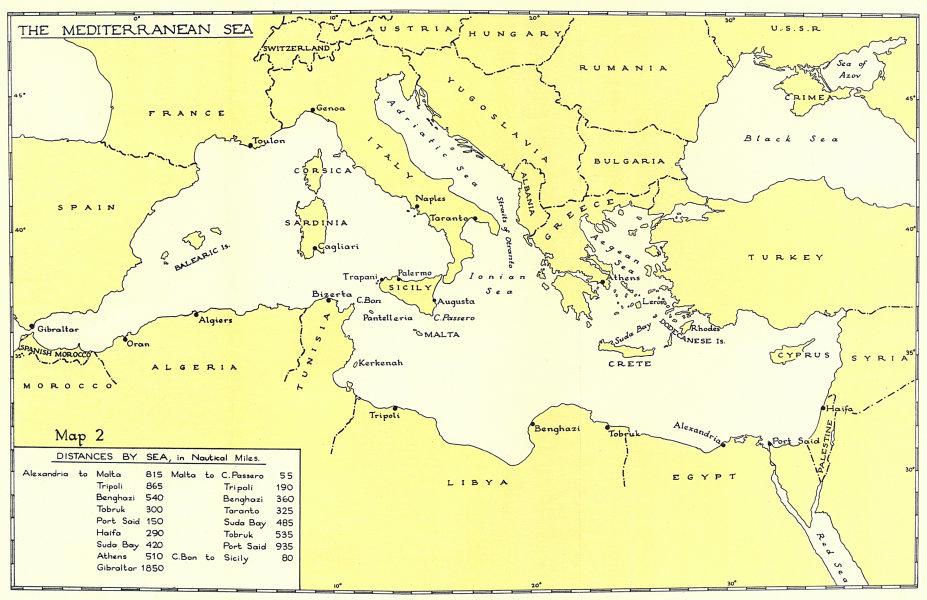 Associate Product Mediterranean Sea. Distances by sea from Alexandria Malta. WW2 1954 old map