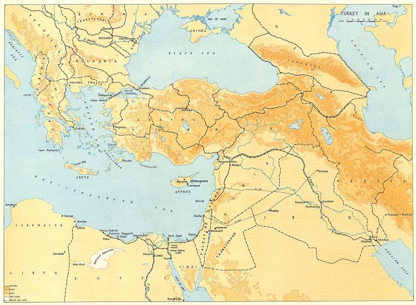 Associate Product TURKEY E. Mediterranean Middle East Balkans Railways oil pipelines WW2 1954 map