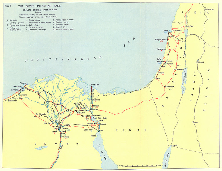Associate Product SECOND WORLD WAR. Egypt-Palestine base 1940. Communications Logistics 1954 map