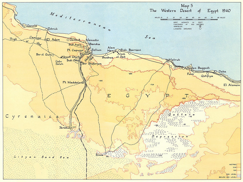 Associate Product SECOND WORLD WAR. Egypt Western Desert 1940. North Africa campaign 1954 map
