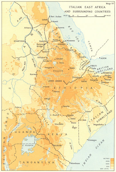 Associate Product ABYSSINIA ETHIOPIA. Italian East Africa & surrounding countries. WW2 1954 map