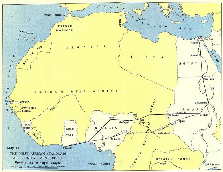 Associate Product West Africa WW2 Nigeria Sudan Egypt. Takoradi air reinforcement route 1954 map