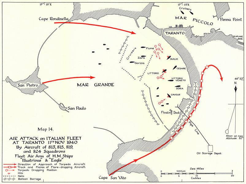 Associate Product Air attack Italian fleet Taranto 11 Nov 1940 HMS Eagle & Illustrious 1954 map
