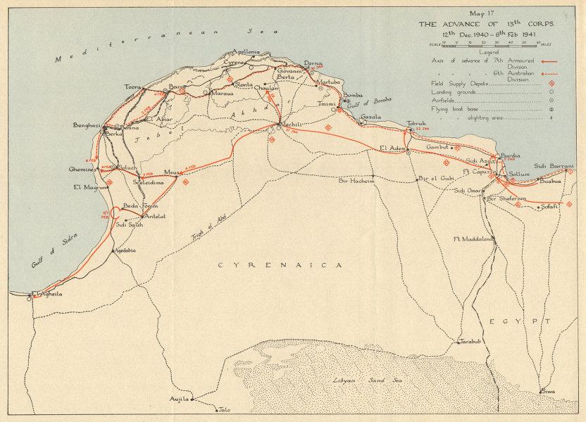 Associate Product LIBYAN DESERT British offensive 13th Corps advance Dec 1940-Feb 1941 1954 map