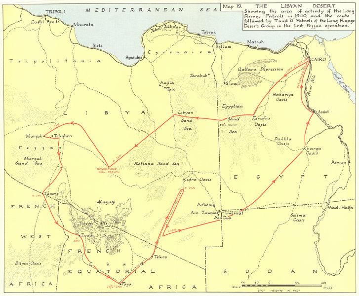 Associate Product LIBYAN DESERT 1940 long-range patrols T & G 1st Fezzan operation 1954 old map