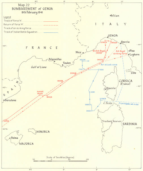 Associate Product Bombardment of Genoa 9th Feb 1941. World War Two. Force 'H'. WW2 1954 old map