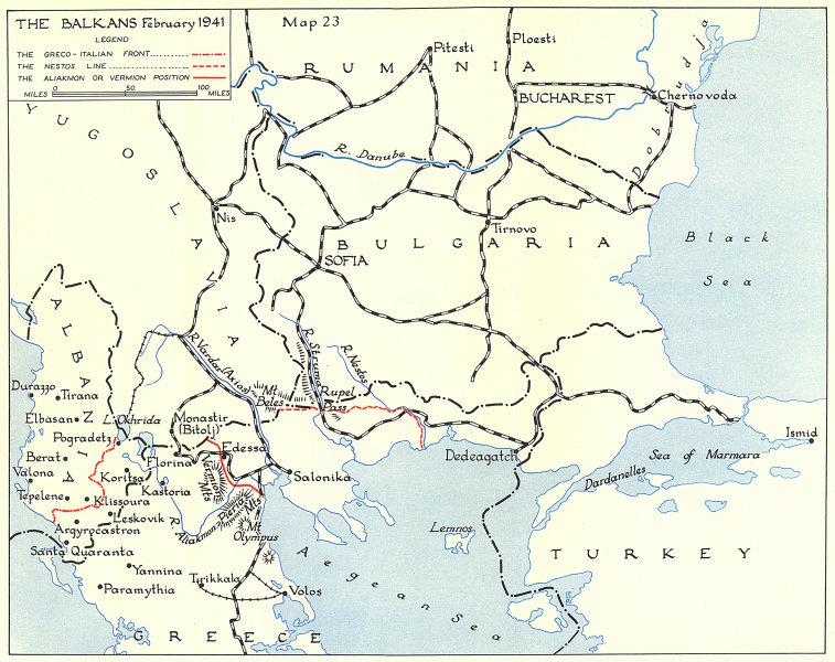 Associate Product WW2 Balkans February 1941. Greco-Italian front. Nestos Line. Aliakmon 1954 map