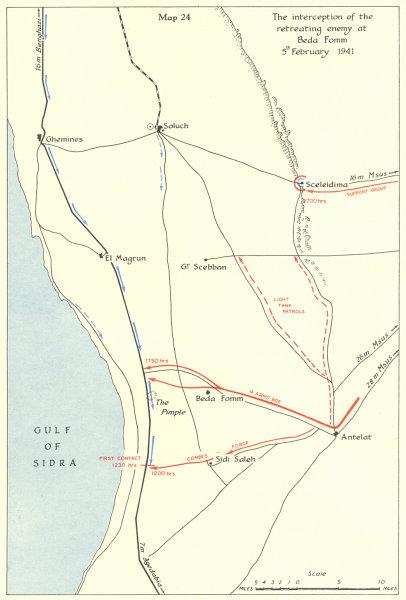 Associate Product Cyrenaica Libya. 5 Feb 1941. Battle of Beda Fomm. World War 2 1954 old map