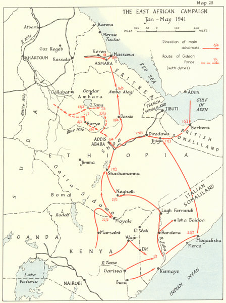 Associate Product East African campaign Jan-May 1941. World War Two Ethiopia Gideon Force 1954 map
