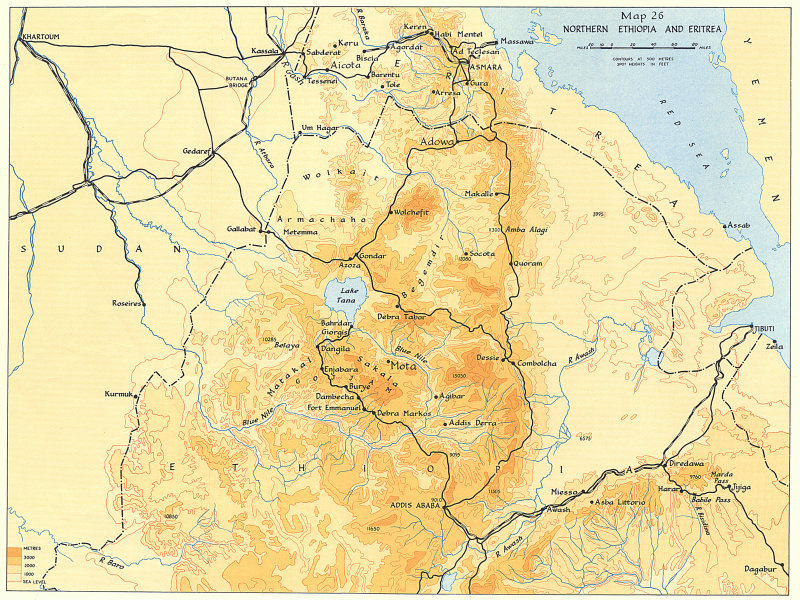 Details about Northern Ethiopia & Eritrea. 1941 East Africa Campaign World  War Two 1954 map