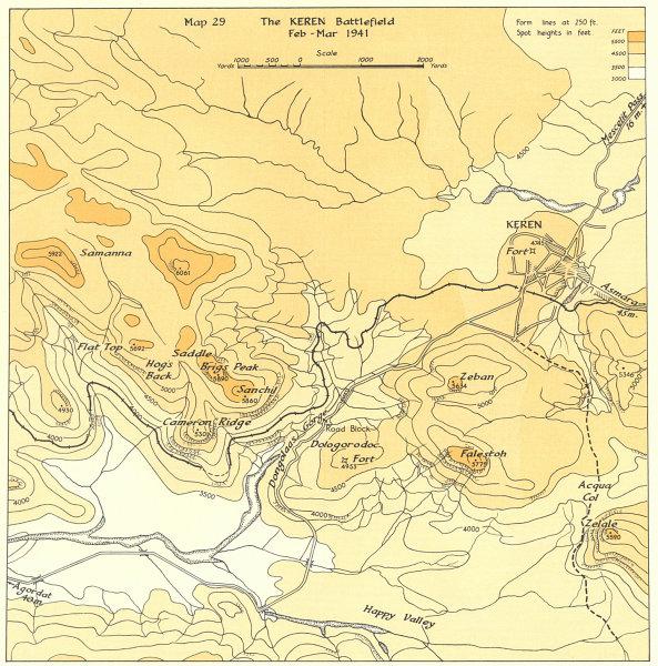 Associate Product ERITREA. East Africa campaign. Keren battlefield Feb-Mar 1941. WW2 1954 map