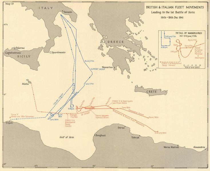 Associate Product 1st Battle of Sirte 16-18 Dec 1941. British Italian fleet movements WW2 1960 map