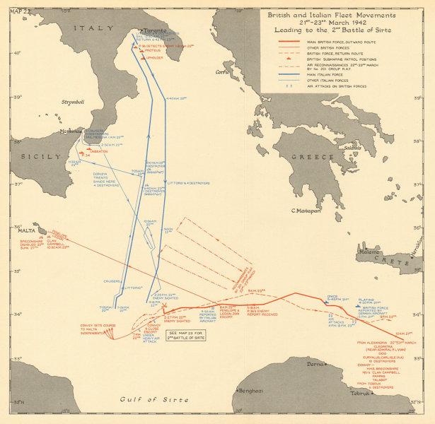 Associate Product 2nd Battle of Sirte 21-23 March 1942. British Italian fleet movements 1960 map