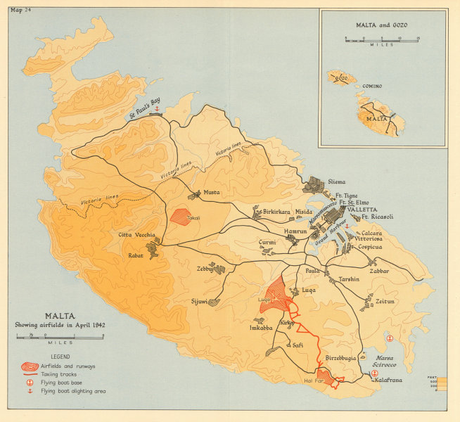 Details about MALTA April 1942 showing airfields. World War 2. Flying boat  bases 1960 map
