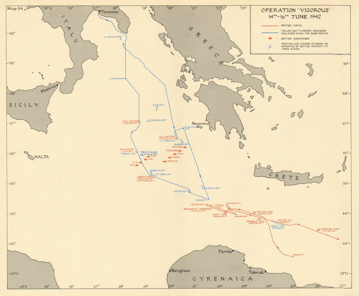 Associate Product Operation Vigorous 14th-16th June 1942. Mediterranean. World War 2 1960 map
