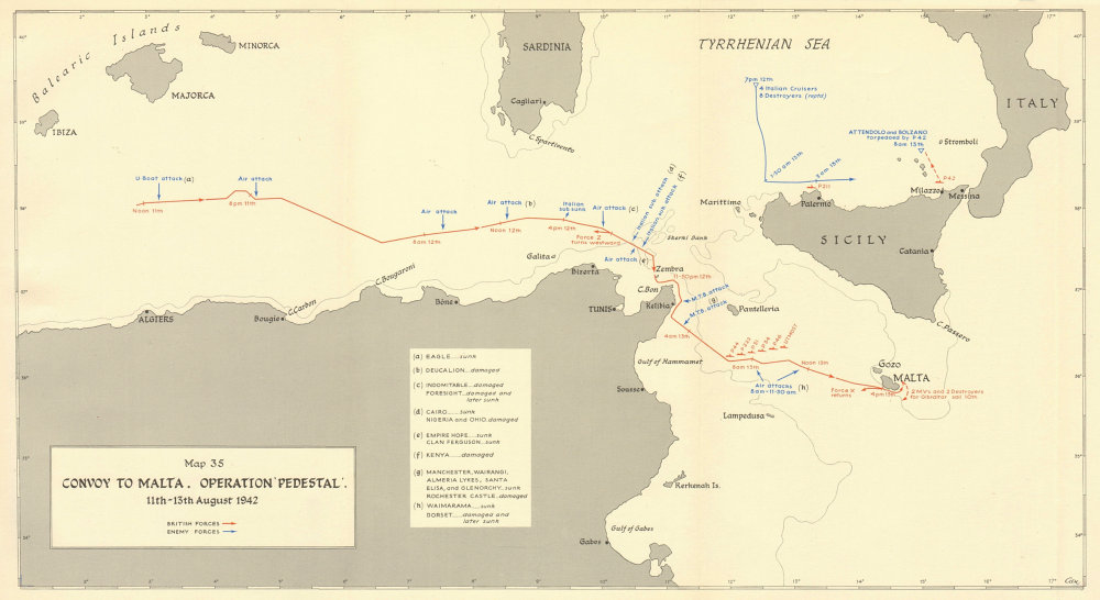 Details about MALTA CONVOY. Operation Pedestal 11-13th August 1942. World  War 2 1960 old map