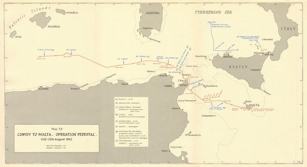 Associate Product MALTA CONVOY. Operation Pedestal 11-13th August 1942. World War 2 1960 old map