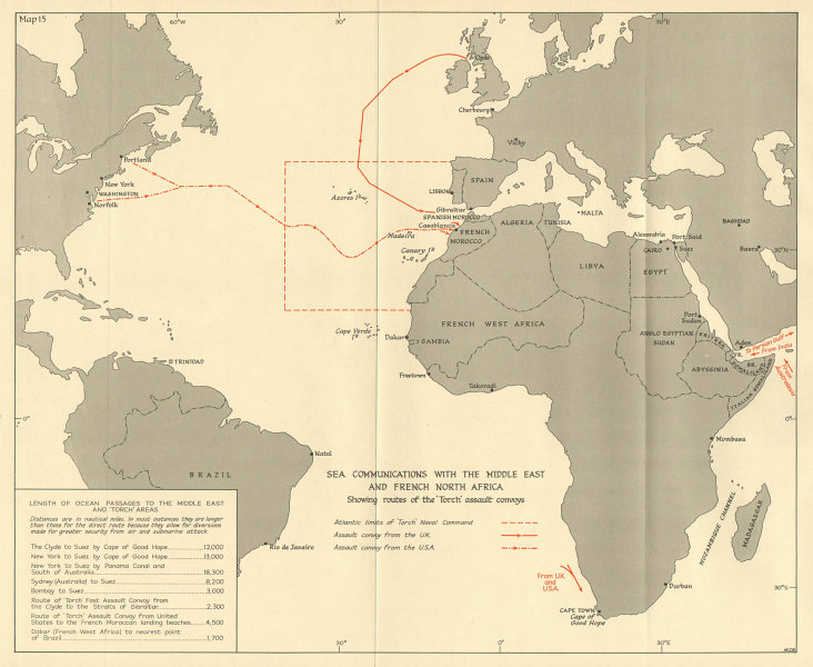 Associate Product Middle East & French North Africa sea routes 1942 Operation Torch 1966 old map