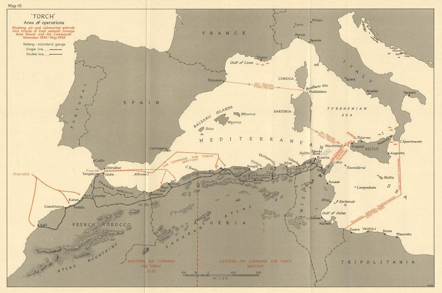 Associate Product Operation Torch Nov 1942-May 1943. World War 2. Western Mediterranean 1966 map