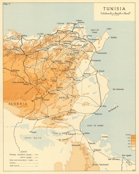 Associate Product Tunisia in 1942. Operation Torch. World War 2 1966 old vintage map plan chart