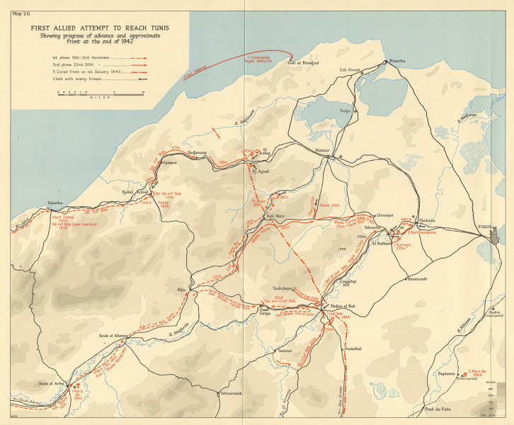 1st Allied attempt to reach Tunis, December 1942-January 1943. WW2 1966 map