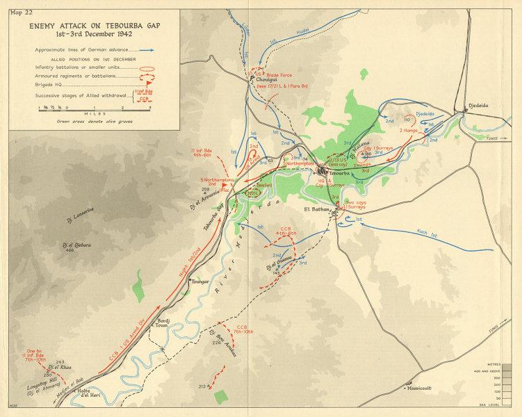 Associate Product Axis attack on Tebourba Gap 1-3 December 1942. Tunisia. World War 2 1966 map