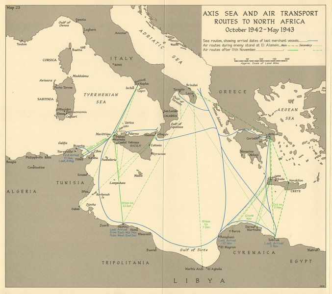 Associate Product Axis North Africa sea & air transport routes. Oct 1942-May 1943. WW2 1966 map