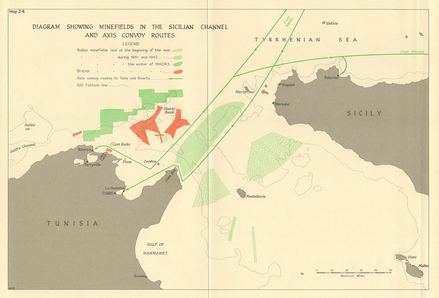 Associate Product Sicilian channel minefields. Axis convoy routes. 1941-43. World War 2 1966 map