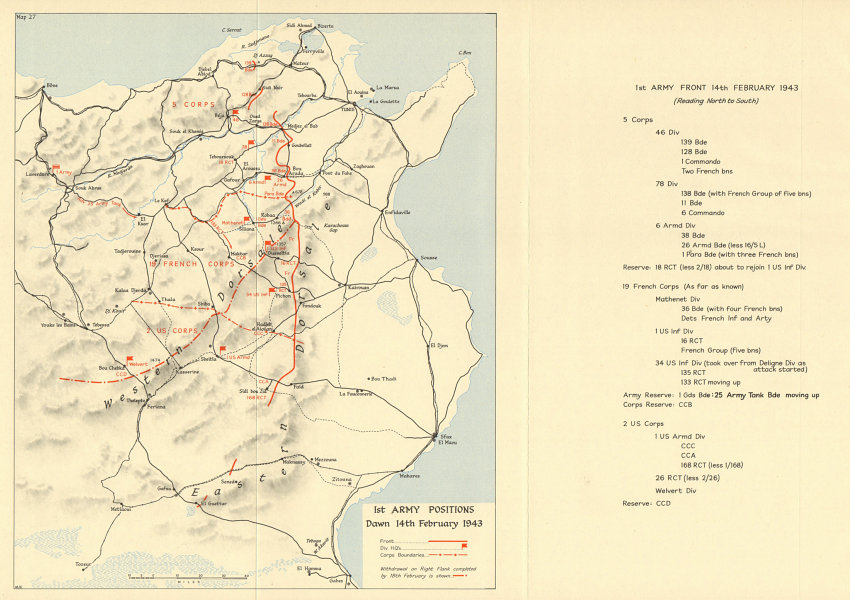 Associate Product Battle of Sidi Bou Zid. Tunisia. 1st Army 14 February 1943. World War 2 1966 map