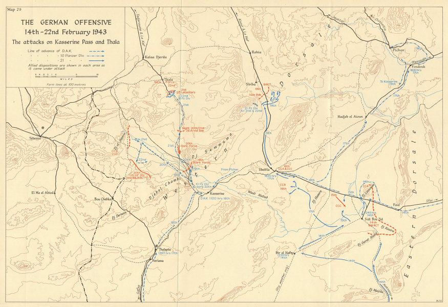 Associate Product German Offensive 14-22 Feb 1943 Kasserine pass & Thala attacks. Tunisia 1966 map