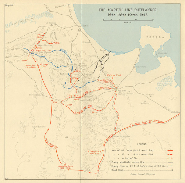 Associate Product Mareth line outflanked. 19-28 March 1943. World War 2. Tunisia 1966 old map